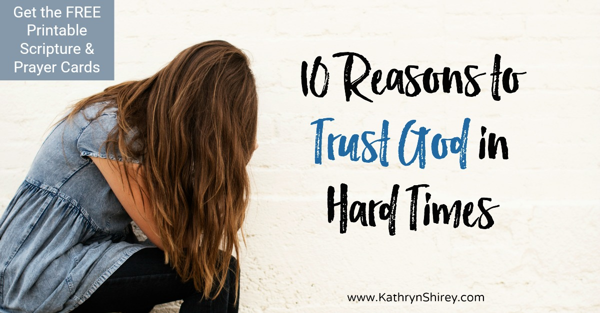 Where do you turn when life gets hard? Make scripture and prayer your go-to with these 10 reasons to trust God in hard times. Turn to God first in hard times, trusting God to carry you through the fire. Get the free printable scripture and prayer cards, plus prayer journal pages.