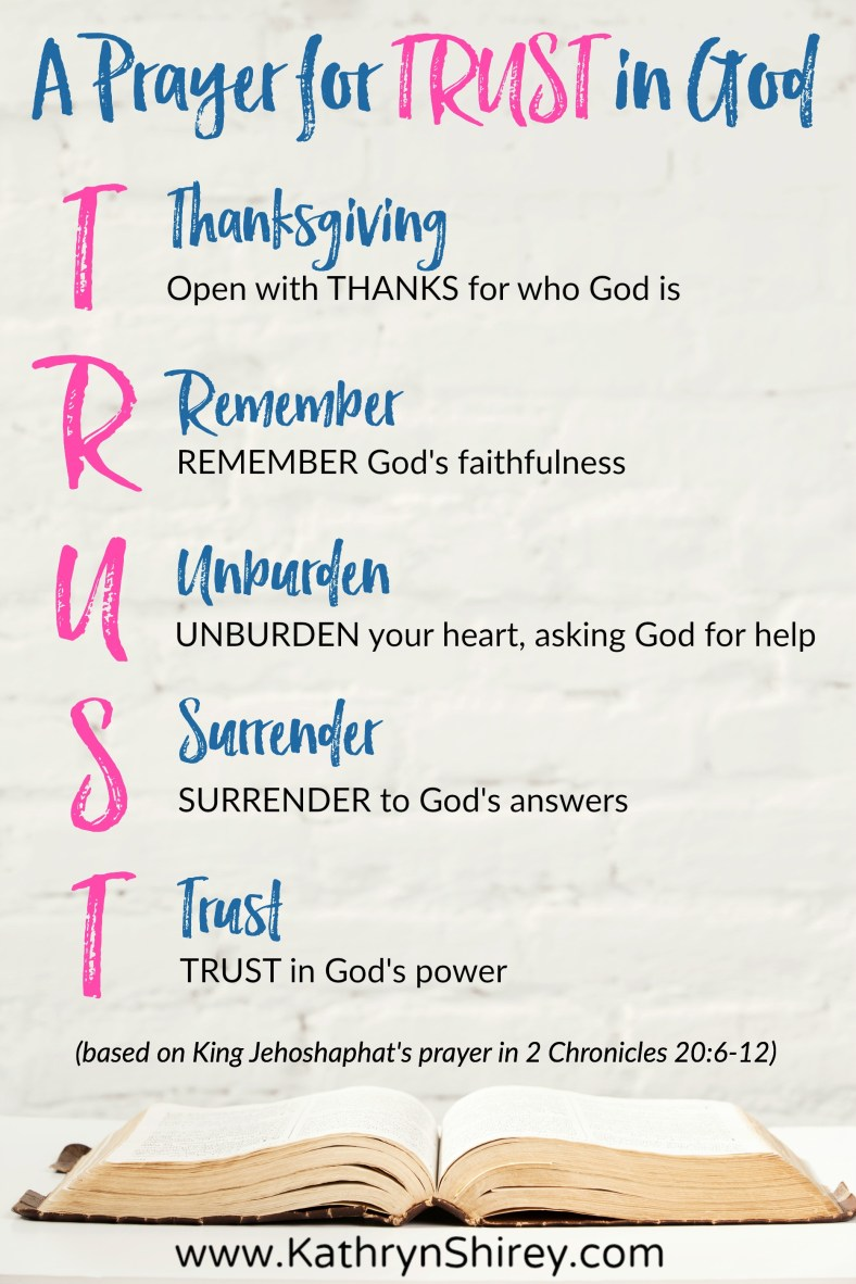 Where do you turn when life gets hard? Do you turn to prayer for trust in God? The TRUST acronym for prayer will help you trust God in the storms of life. #prayer #TrustGod #HowToPray