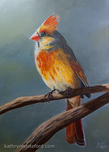 """""""30 Days of Birds, Day 27"""" Acrylics on canvas board, 5x7 inches"""