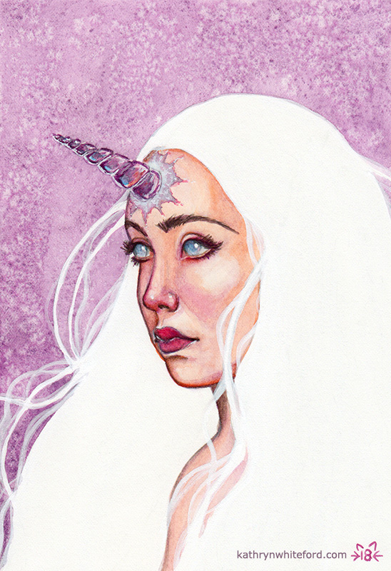 """""""Unicorn Girl"""" Watercolour painting on watercolour paper, 5x7 inches"""