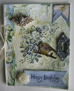 Birthday Bird with Gesso Card