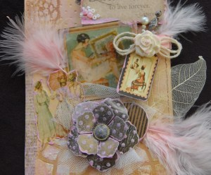 Close up of tag images.  Not the cracked glass effect and the altered staples flower.