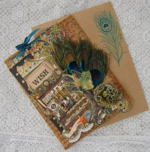 Birthday card and matching envelope made from Olde Curiosity Shoppe collection
