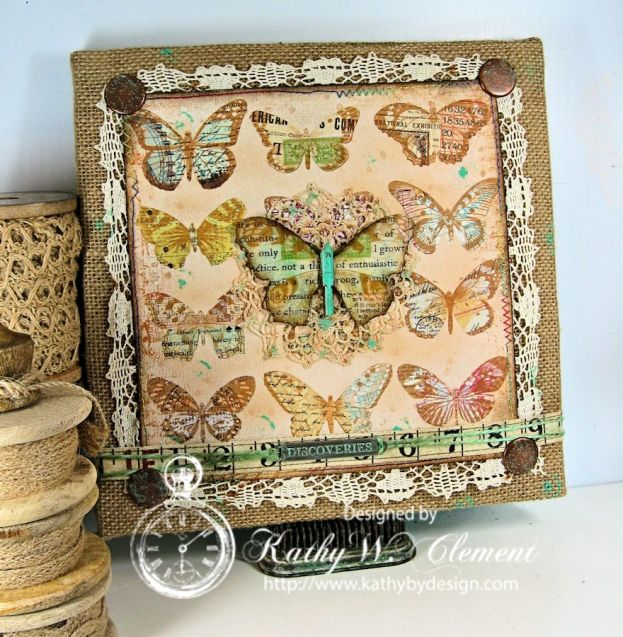 Burlap Butterfly Canvas/Kathy by Design