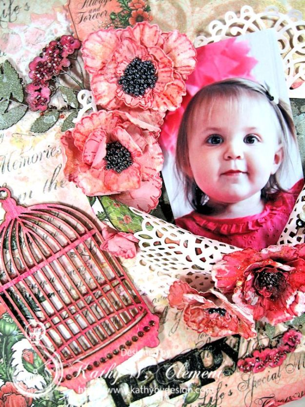 Blazing Poppies Mixed Media Layout 04a