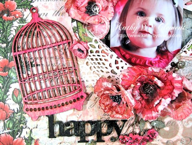 Blazing Poppies Mixed Media Layout 07