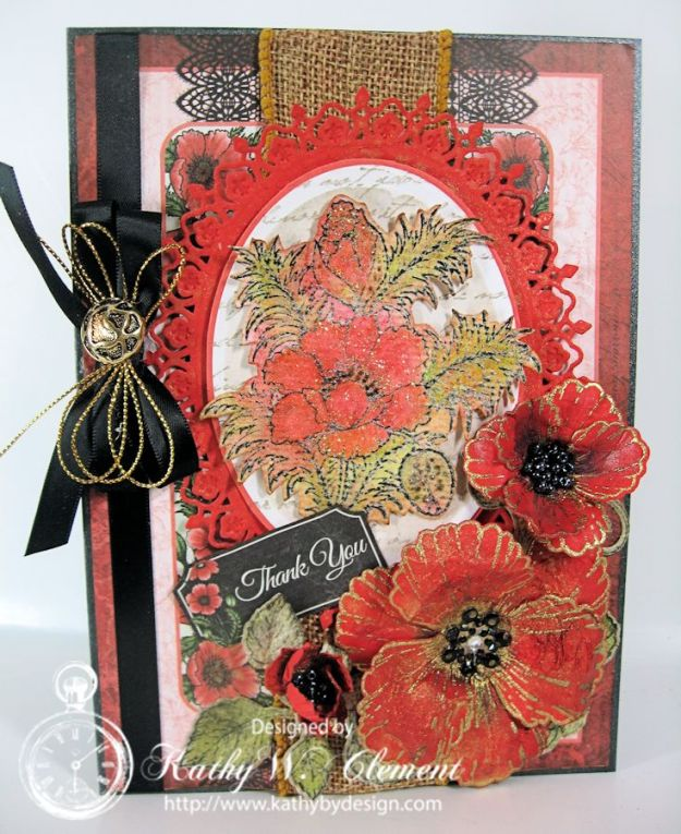 Blazing Poppy Thank You Card/Kathy by Design