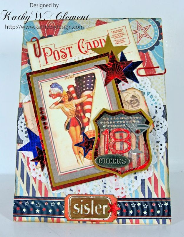 Red. White and Blue Birthday Card/Kathy by Design