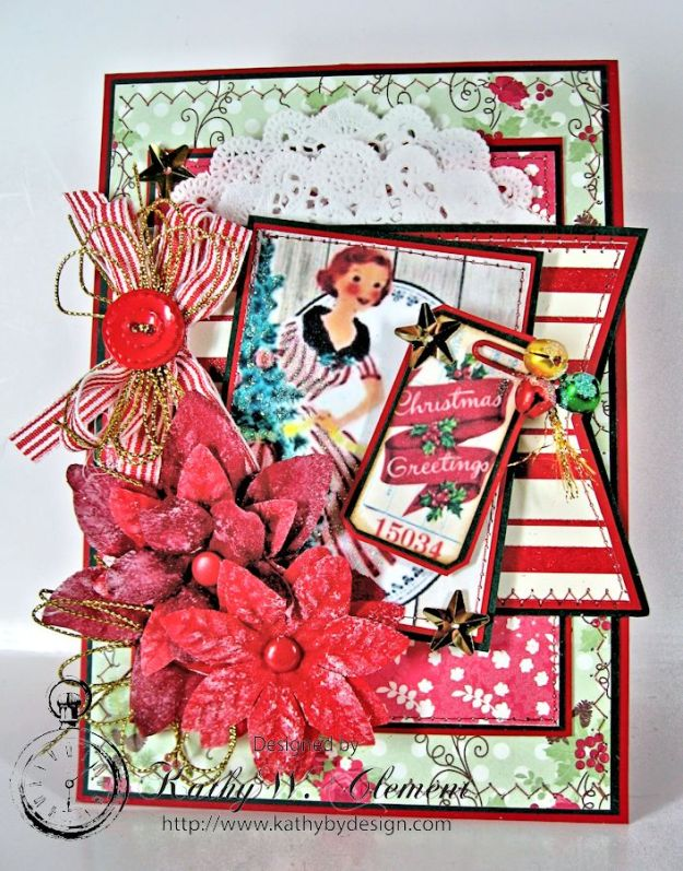 Pollys Paper Christmas Ladies Poinsettia 03