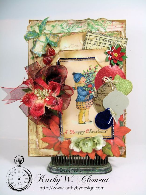 Kathy by Design/Vintage Happy Christmas card for Crafty Secrets