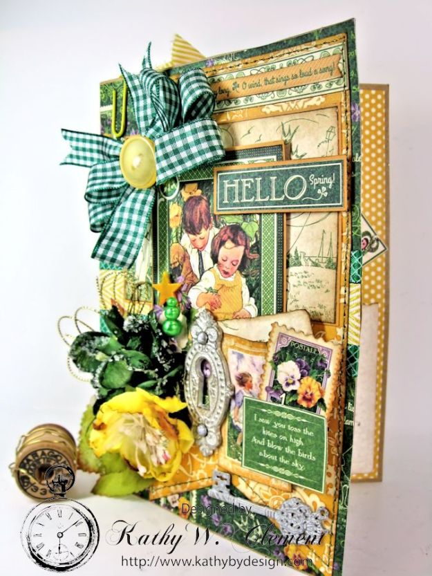 Hello Spring card for Frilly Funkie Layer it Up Challenge 04