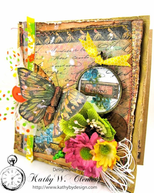 Mixed Media Butterfly Card Tutorial by Kathy Clement Canvas Corp Brands Mixed Media Papers and RRR June 2016 Ribbon Club Collection 01