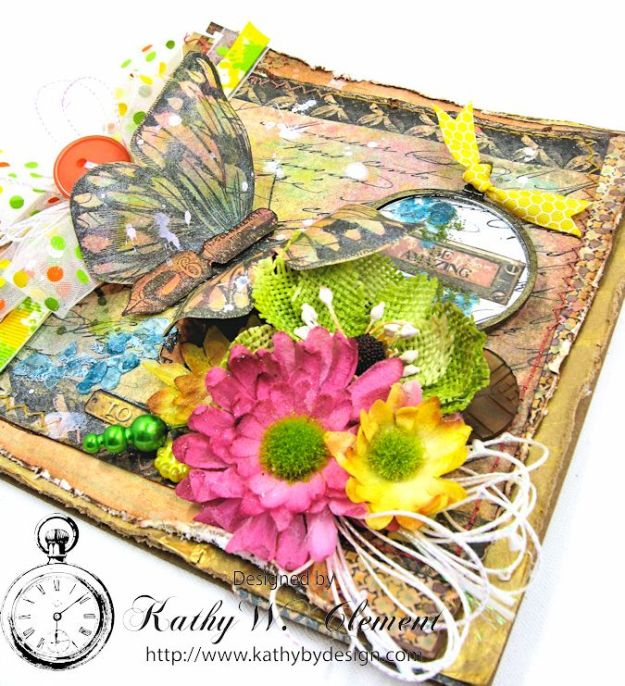 Butterfly Card Tutorial by Kathy Clement Canvas Corp Brands Mixed Media Papers and RRR June 2016 Ribbon Club Collection 03