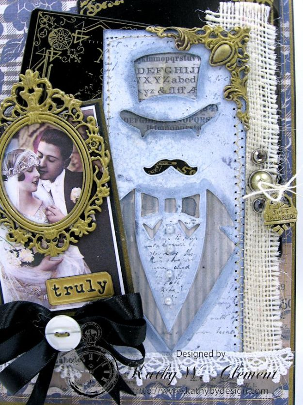 Dapper Wedding Card by Kathy Clement for Funkie Junkie Boutique 05