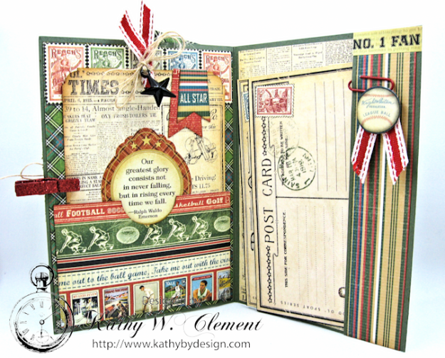 Graphic45 Good Old Sport Masculine Pocket Card by Kathy Clement for Really Reasonable Ribbon Masculine Challenge 04