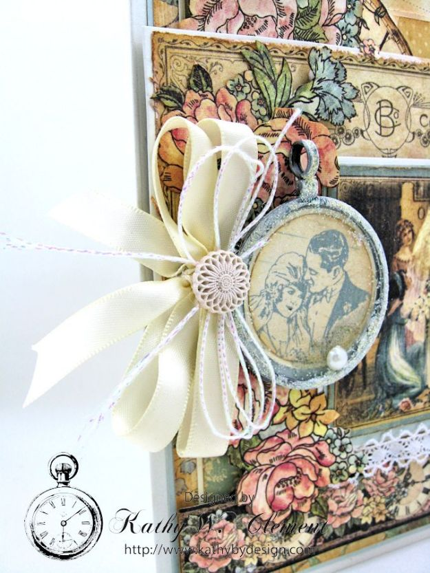Pastels and Pearls  Wedding Card for Frilly and Funkie,  Graphic 45 Ladies' Diary Wedding Card by Kathy Clement 03