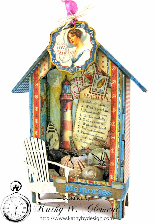 Beach Rules House Shrine Box Tutorial by Kathy Clement for Gypsy Soul Laser Cuts Product Graphic 45 By the Sea Photo 1a