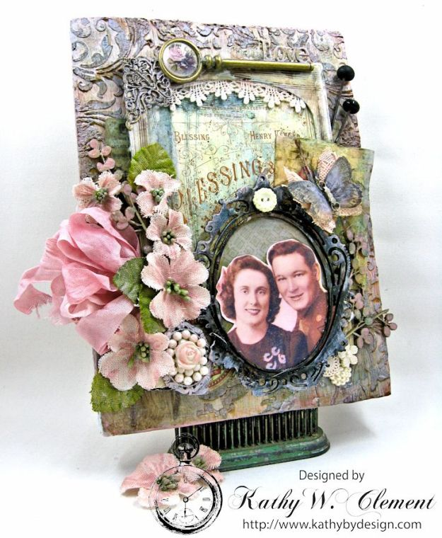 All in the Family mixed media wall hanging by Kathy Clement for the Frilly and Funkie Challenge Blog Photo 1