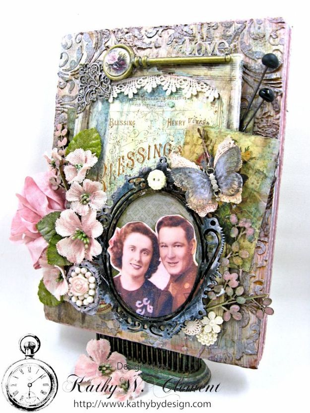 All in the Family mixed media wall hanging by Kathy Clement for the Frilly and Funkie Challenge Blog Photo 2