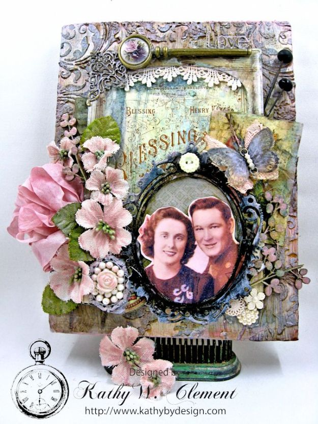 All in the Family mixed media wall hanging by Kathy Clement for the Frilly and Funkie Challenge Blog Photo 4