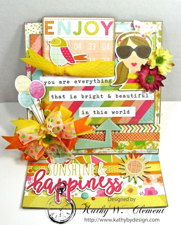 Simple Stories Sunshine and Happiness Easel Card by Kathy Clement for Really Reasonable Ribbon 02