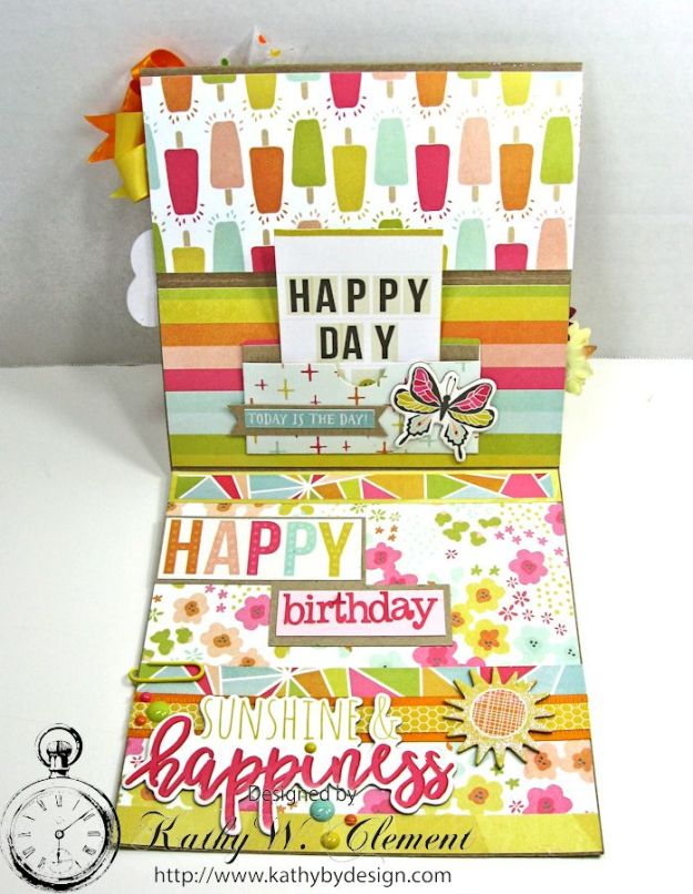 Simple Stories Sunshine and Happiness Easel Card by Kathy Clement for Really Reasonable Ribbon 08a