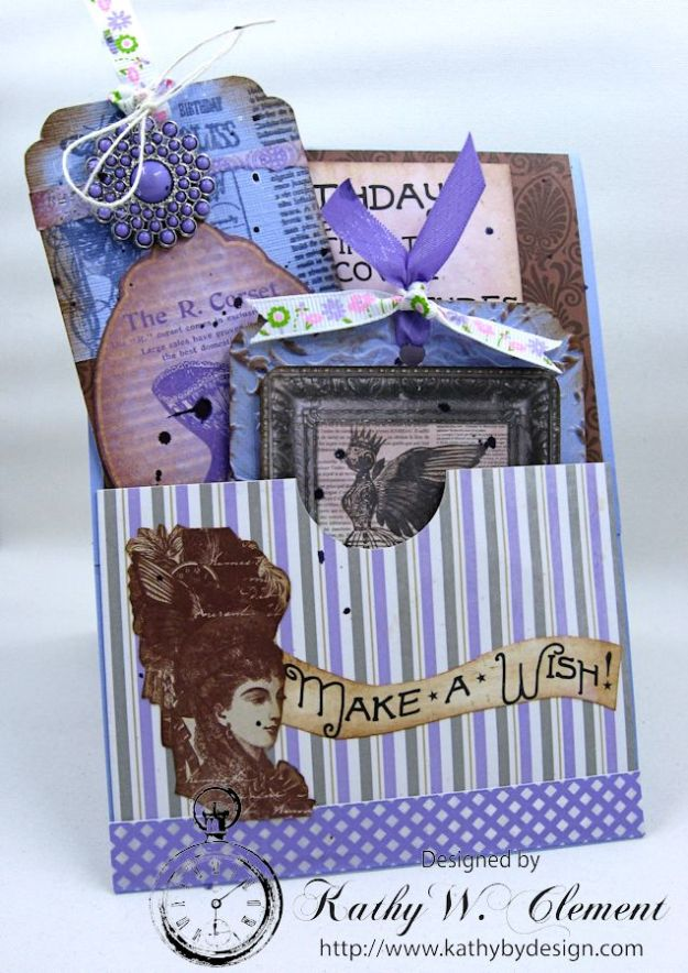 Lady in Purple Pocket Card by Kathy Clement for Really Reasonable Ribbon Pink and Purple Challenge Product Bo Bunny Penny Emporium Photo 6