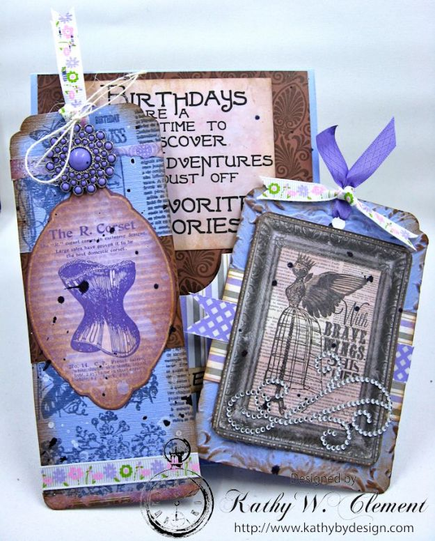 Lady in Purple Pocket Card by Kathy Clement for Really Reasonable Ribbon Pink and Purple Challenge Product Bo Bunny Penny Emporium Photo 7