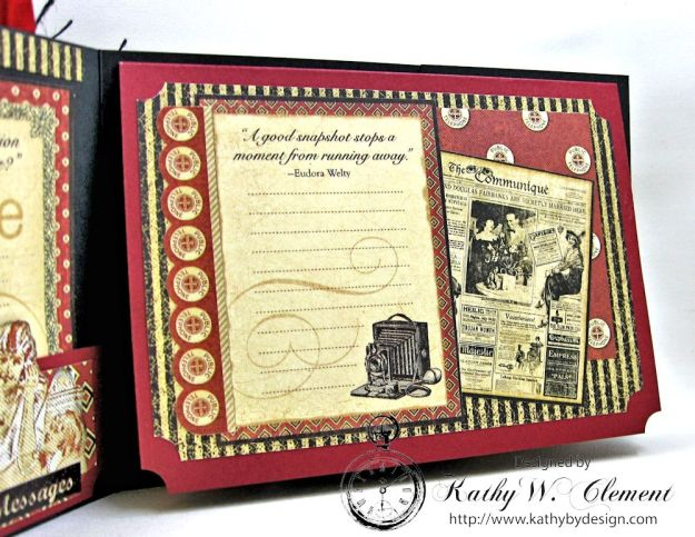 Let's Chat Photo Card, Communique, by Kathy Clement for Frilly and Funkie All Lined Up Challenge, Product by Graphic 45, Photo 4