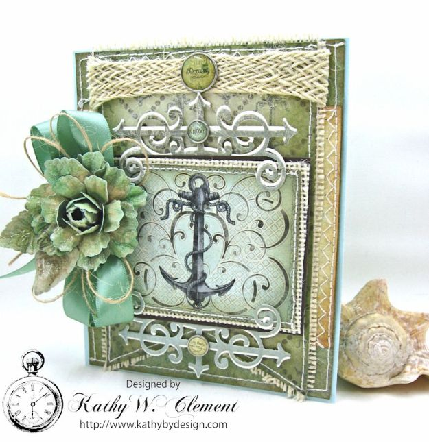 Nautical RoseTutorial Card by Kathy Clement for Heartfelt Creations July 2016 Alumni Hop product by Really Reasonable Ribbon and Heartfelt Creations Photo 1