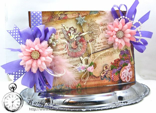 Nutcracker Sweet Pink and Purple Card by Kathy Clement for Really Reasonable Ribbon Challenge Product by RRR and Graphic 45 Photo 1