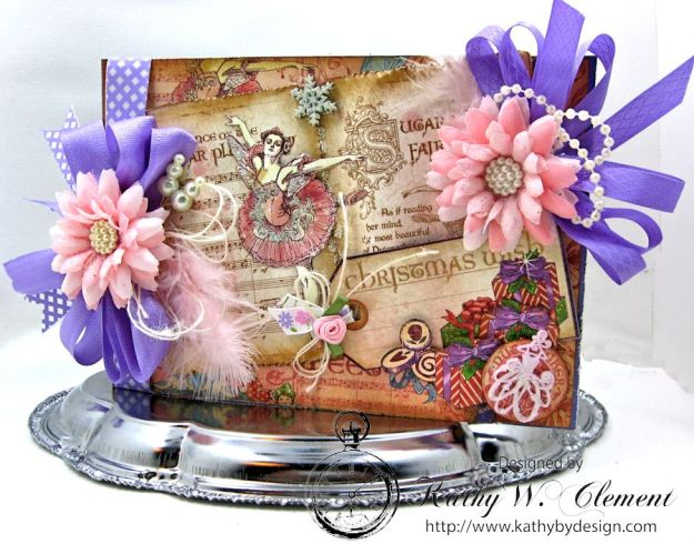 Nutcracker Sweet Pink and Purple Card by Kathy Clement for Really Reasonable Ribbon Challenge Product by RRR and Graphic 45 Photo 3