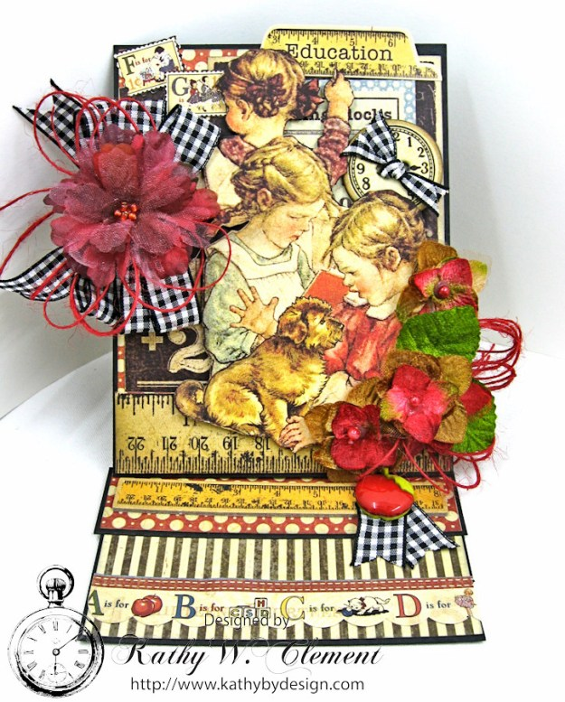Petaloo Goes Back to School Easel Card by Kathy Clement, ABC Primer, Product by Petaloo and Graphic 45, Photo 2