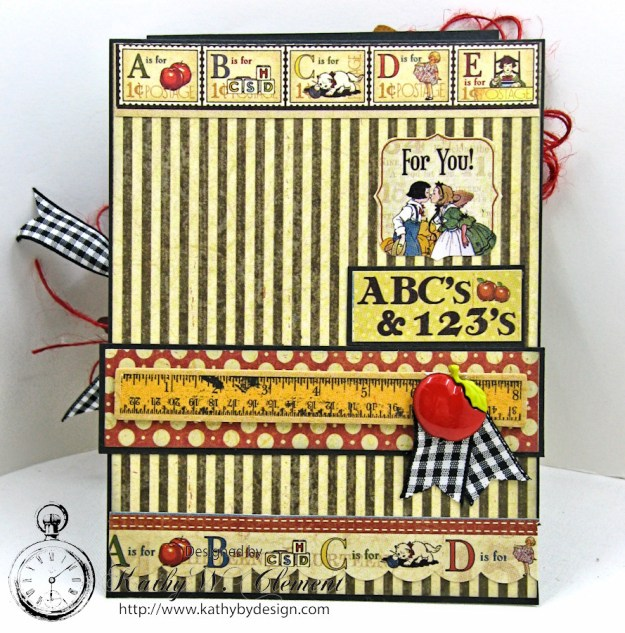 Back to School Easel Card by Kathy Clement, ABC Primer, Product by Petaloo and Graphic 45, Photo 4