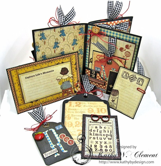 Petaloo Goes Back to School Mini Album, ABC Primer, By Kathy Clement, Product by Petaloo and Graphic 45 Photo 4
