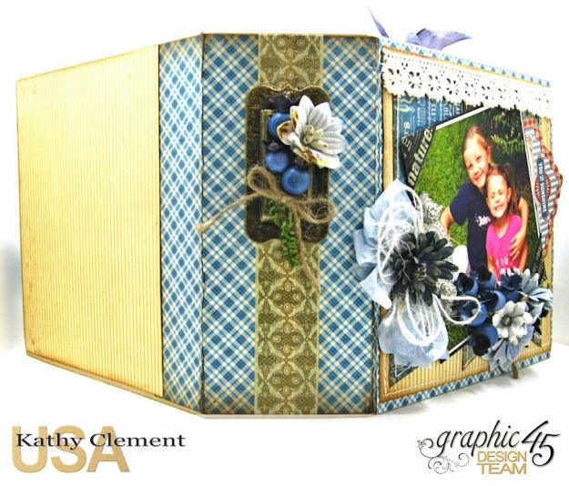 Blueberry Delight Mini Album Tutorial, Home Sweet Home, Staples Square Tag Album, by Kathy Clement, Product by Graphic 45 Photo9 15