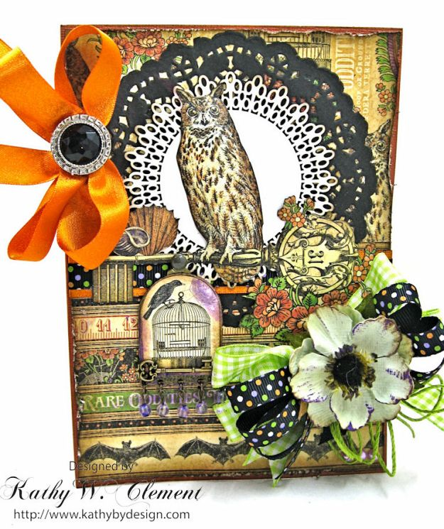 Happy Howloween Card, Rare Oddities, by Kathy Clement for Really Reasonable Ribbon Product by Graphic 45, Photo 1
