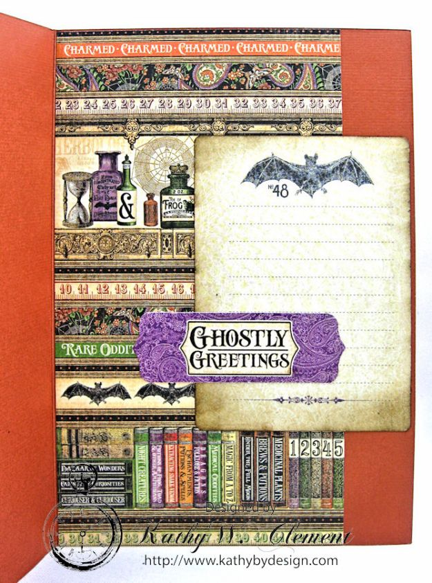 Happy Howloween Card, Rare Oddities, by Kathy Clement for Really Reasonable Ribbon Product by Graphic 45, Photo 4