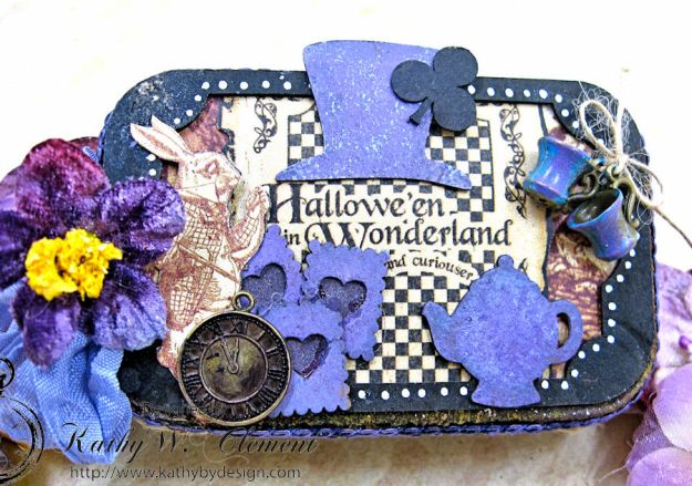 Altered Altoids Tin, Halloween in Wonderland, by Kathy Clement for Gypsy Soul Laser Cuts, Product by Graphic 45, Photo 12