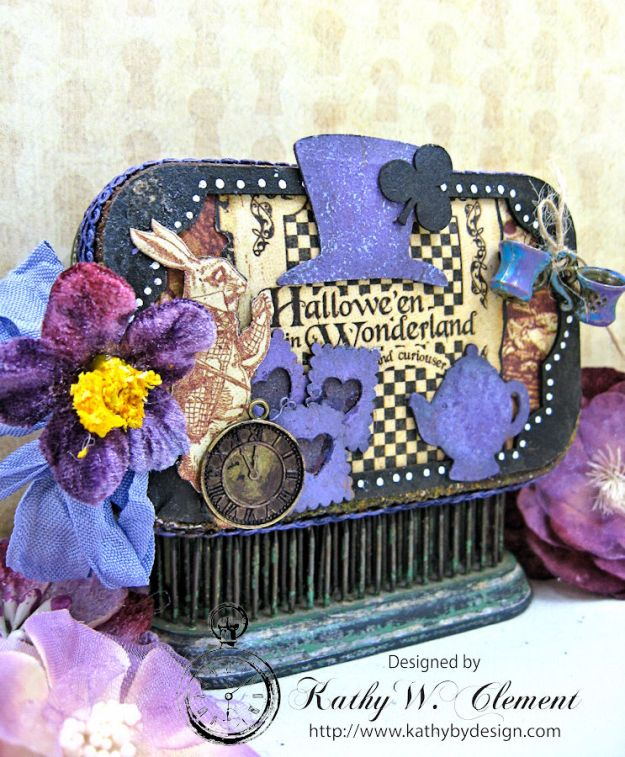Altered Altoids Tin, Halloween in Wonderland, by Kathy Clement for Gypsy Soul Laser Cuts, Product by Graphic 45, Photo 2