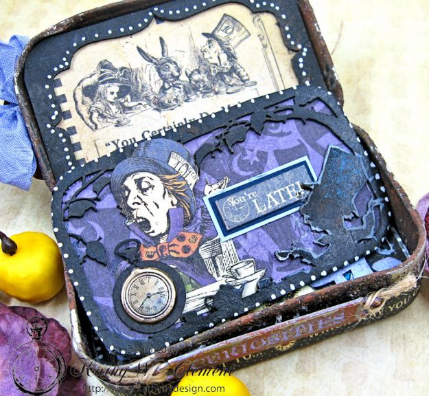 Altered Altoids Tin, Halloween in Wonderland, by Kathy Clement for Gypsy Soul Laser Cuts, Product by Graphic 45, Photo 8