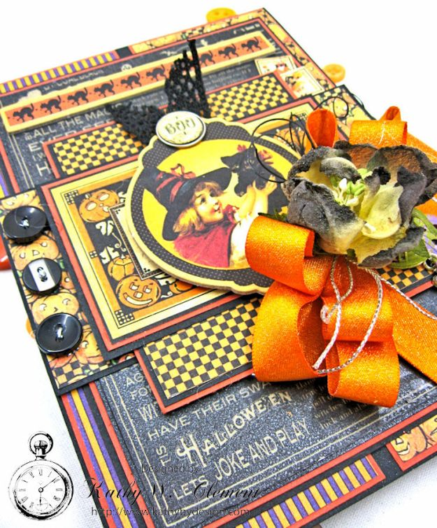 Jolly Halloween Wishes Card, Happy Hauntings, by Kathy Clement for Really Reasonable Ribbon, Product by Graphic 45, Photo 4