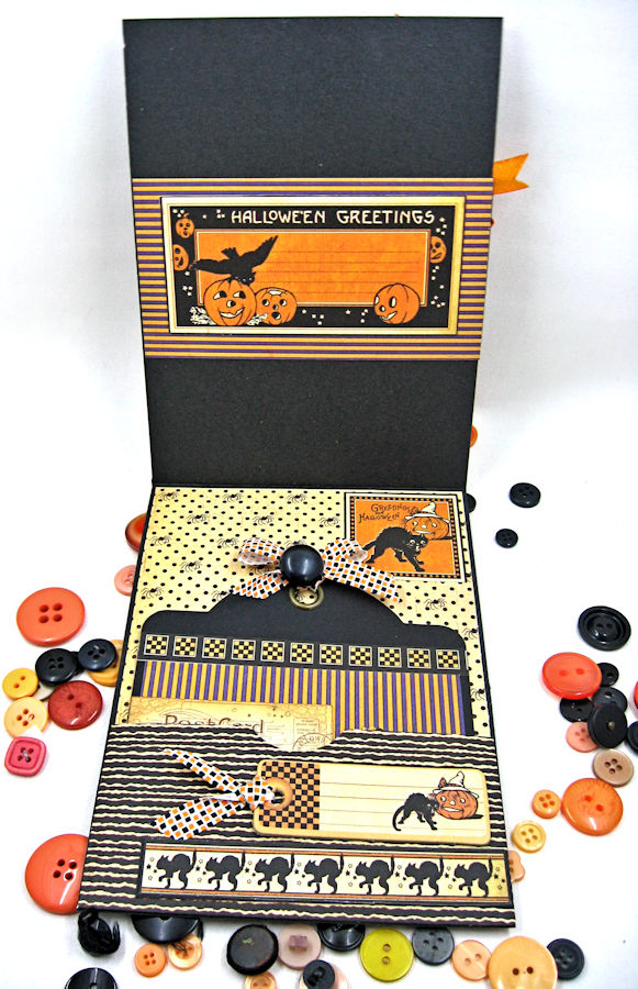 Jolly Halloween Wishes Card, Happy Hauntings, by Kathy Clement for Really Reasonable Ribbon, Product by Graphic 45, Photo 3