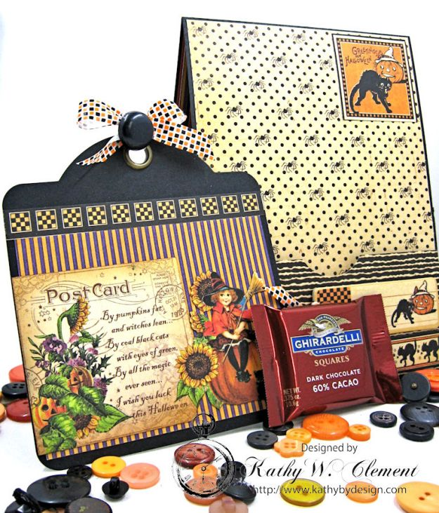 Jolly Halloween Wishes Card, Happy Hauntings, by Kathy Clement for Really Reasonable Ribbon, Product by Graphic 45, Photo 2