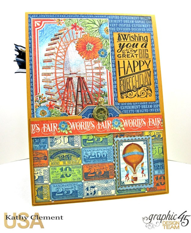 Ladies and Gents Birthday Card Tutorial, World's Fair, by Kathy Clement, Product by Graphic 45 Photo 10