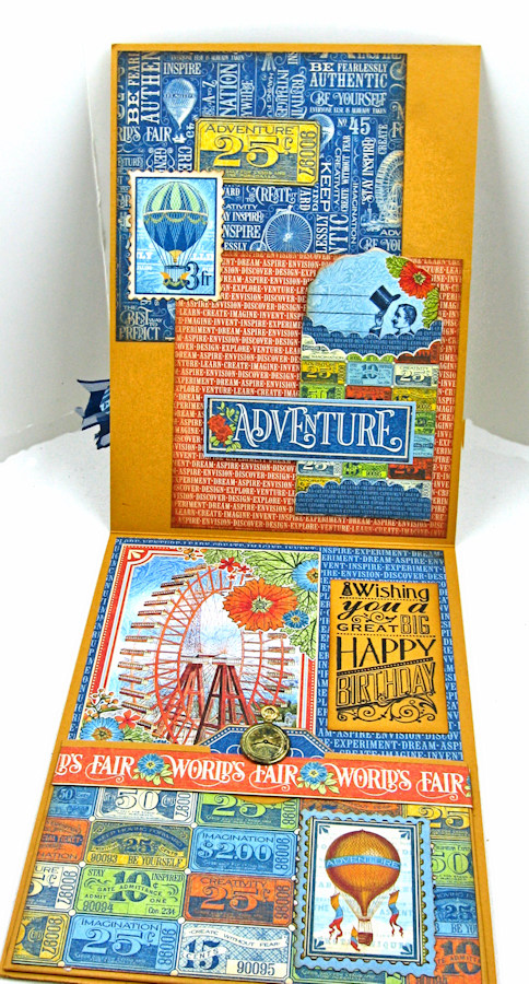 Ladies and Gents Birthday Card Tutorial, World's Fair, by Kathy Clement, Product by Graphic 45 Photo 7