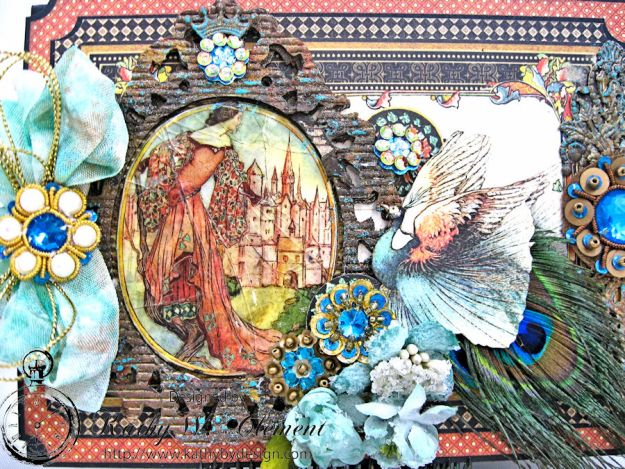 The Princess and the Peacock Box Card, Enchanted Forest, by Kathy Clement for Frilly and Funkie Things with Wings Challenge, Product by Graphic 45, Photo 4
