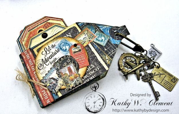 Travel Themed Mini Tag Book Tutorial by Kathy Clement