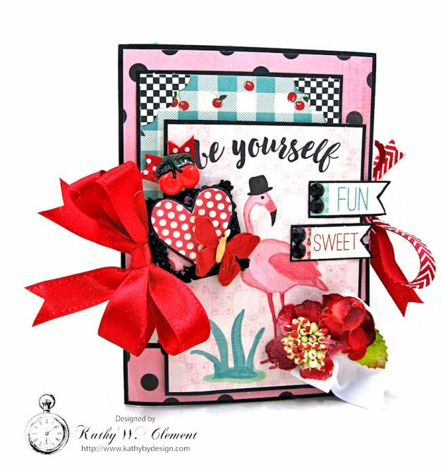 Pink Flamingo Valentines Day Mini File Folder by Kathy Clement, Photo 1