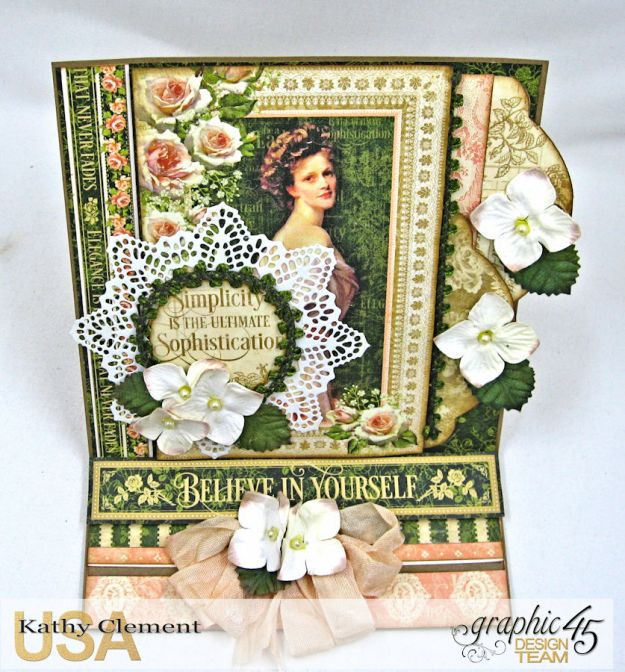 Portrait of a Lady Easel Card, Portrait of a Lady, by Kathy Clement, Product by Graphic 45, Photo 4